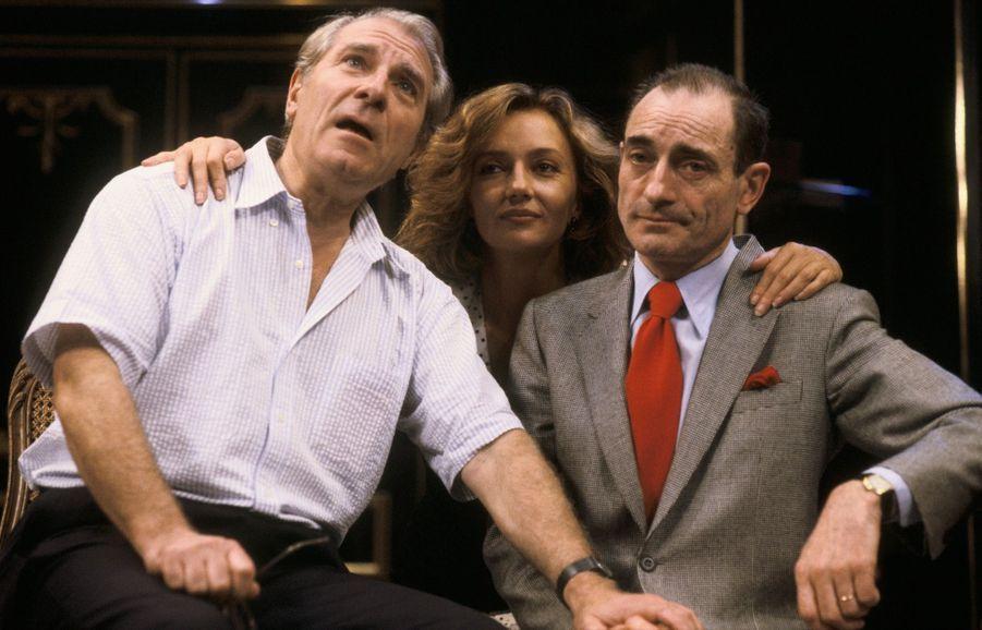 Jean Poiret, Caroline Cellier et Pierre Etaix au théâtre dans «L'age de monsieur est avance», en septembre 1985.