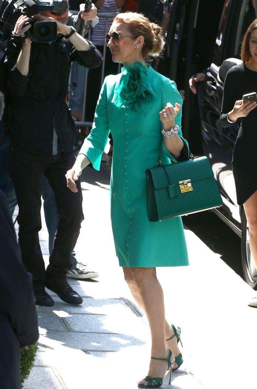 Céline Dion à la sortie de son hôtel, le Royal Monceau, 2016