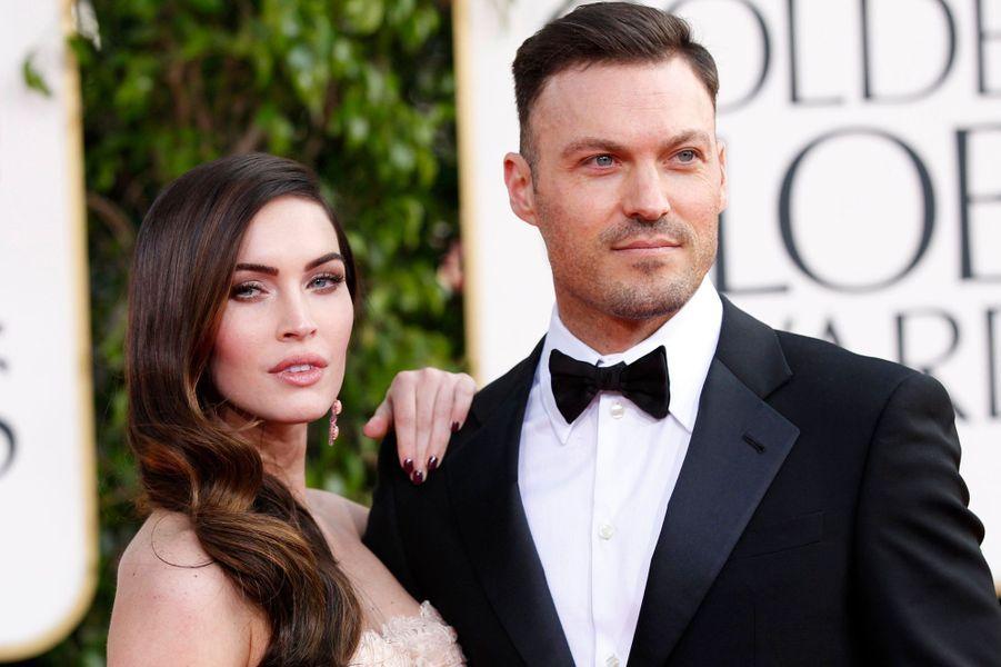 """La bombe de """"Transformers"""" et l'acteur révélé par la série """"Beverly Hills"""" se sont séparés en février 2009, après cinq ans de relation. Ils se sont remis ensemble deux mois plus tard, et se sont dit """"oui"""" à Hawaï en juin 2010. Ils ont accueilli leur premier enfant, Noah, en septembre 2012, et Megan Fox est enceinte de leur deuxième enfant."""