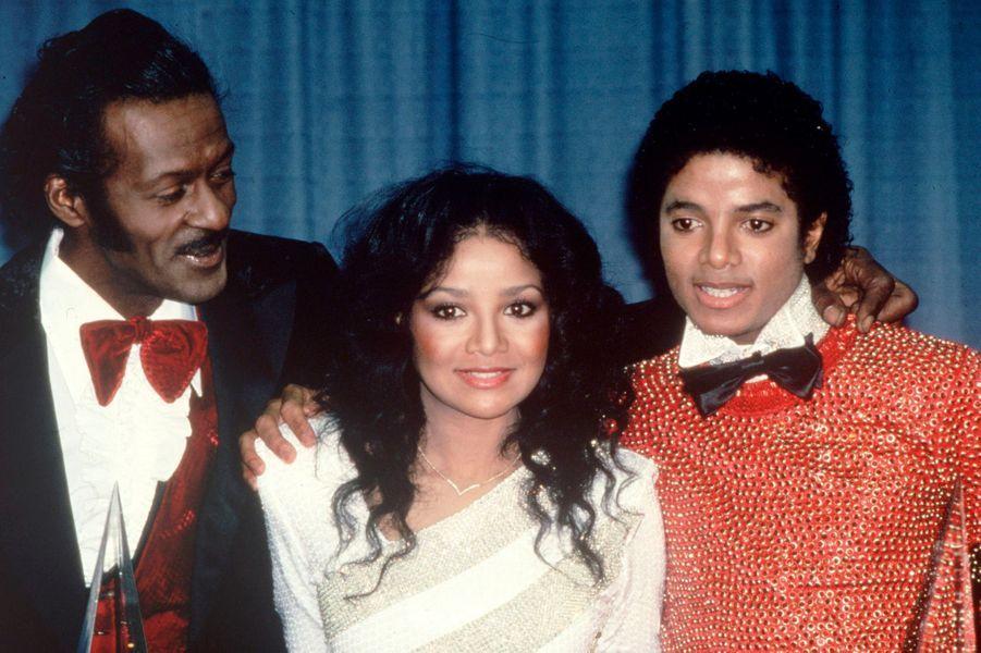 LaToya Jackson avec son frère Michael et son père en 1980
