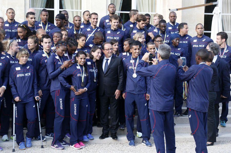 Les athlètes français à l'Elysée avec François Hollande