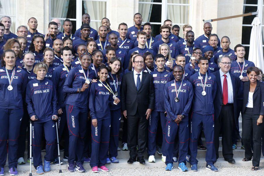 Les athlètes français à l'Elysée