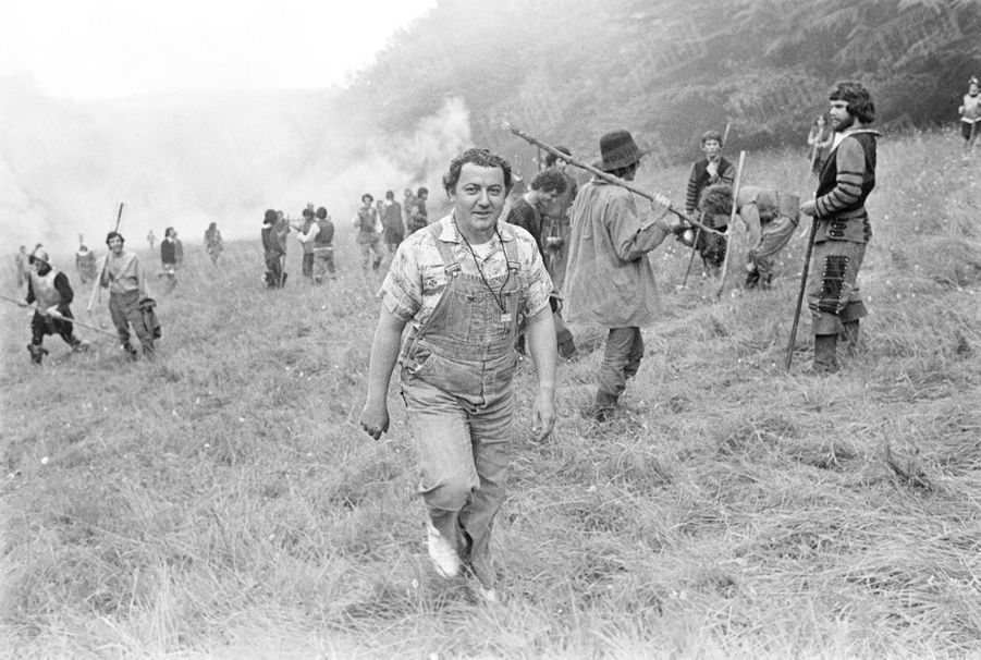Coluche sur le tournage de son film «Vous n'aurez pas l'Alsace et la Lorraine», en 1977.