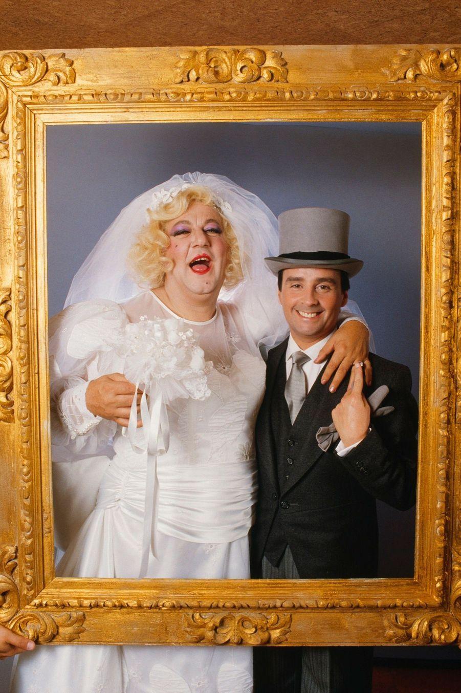 «Photo de mariage» de Coluche et Thierry Le Luron, le 25 septembre 1985.