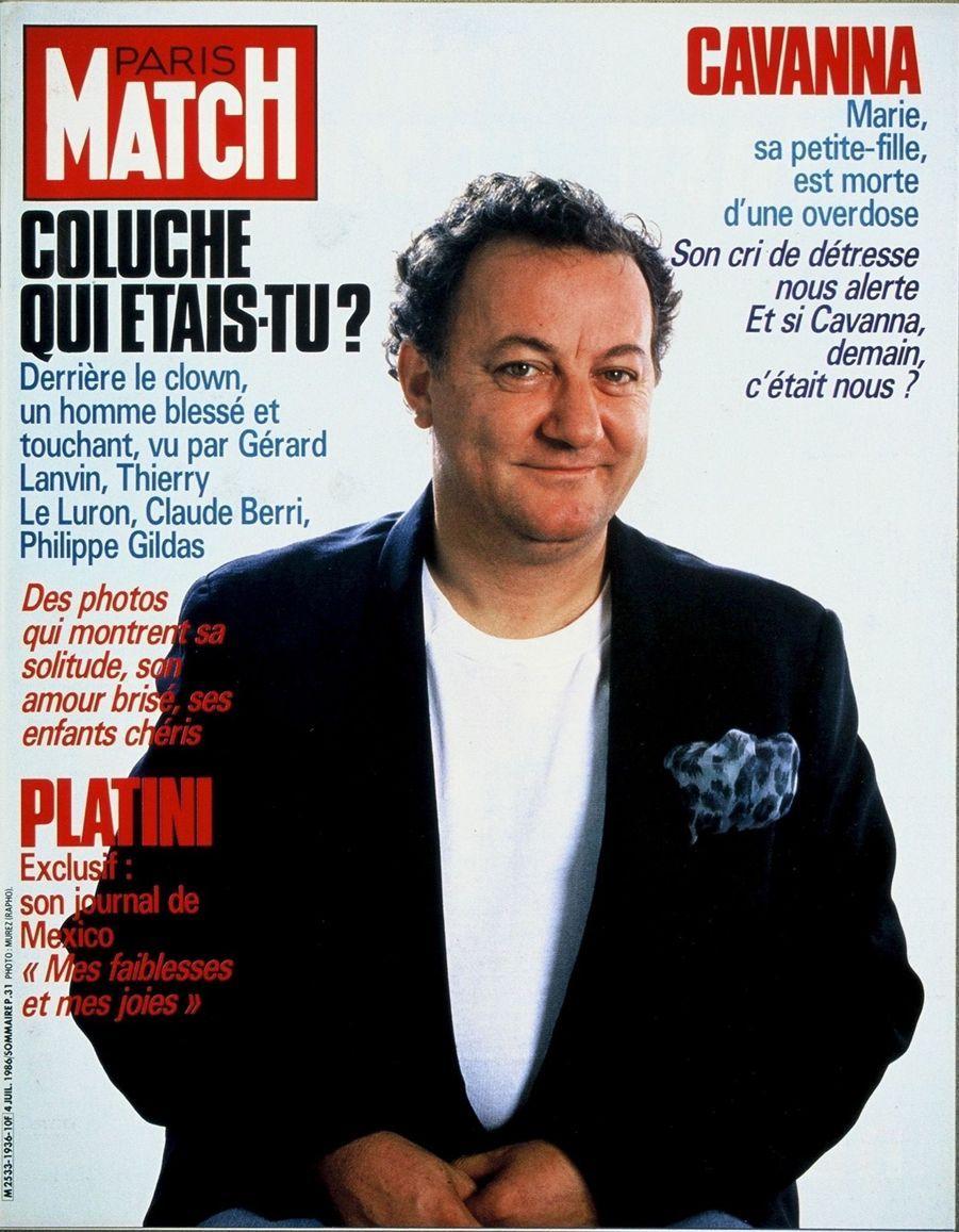 Coluche en couverture du Paris Match n°1936, daté du 4 juillet 1986. Le comique est mort le 19 juin 1986.