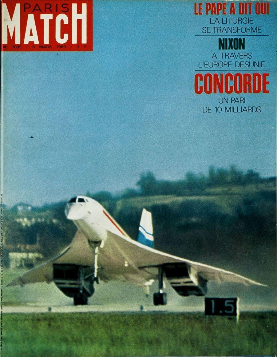 La premier vol du Concorde en couverture deParis Match n°1035, daté du 8 mars 1969.