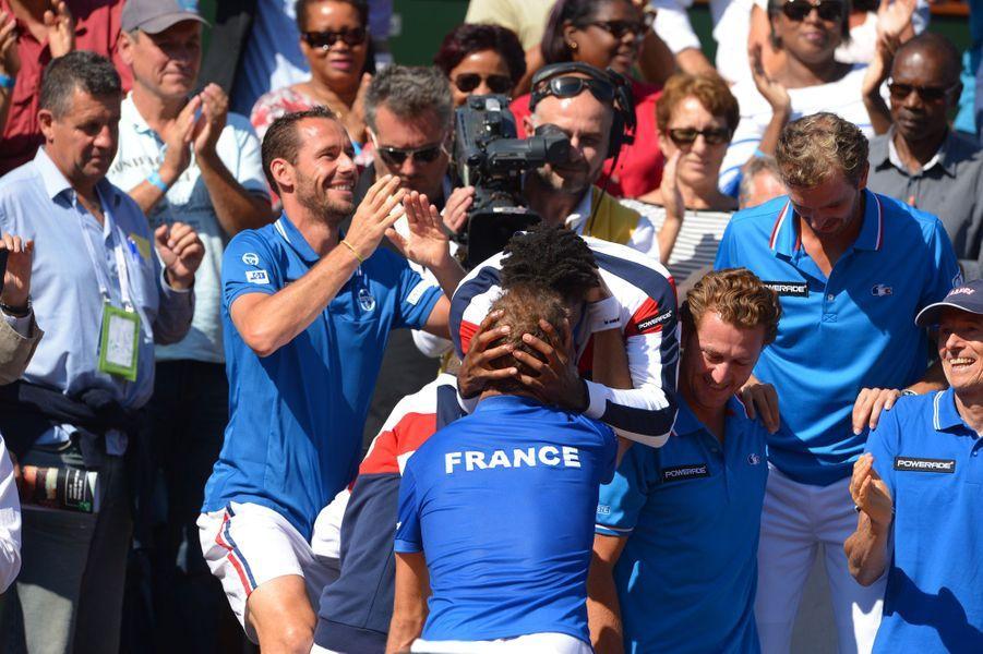 La joie de l'équipe française de Coupe Davis