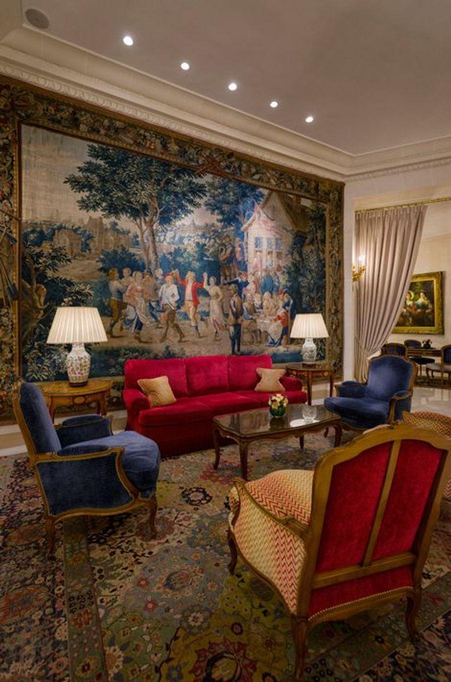 Tapisserie du 18e siècle dans le hall, Danses et ripailles par David Teniers