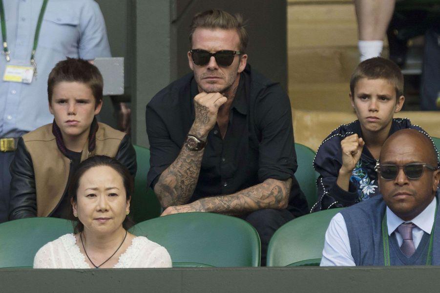 Concentration des Beckham devant le match Andy Murray face à Jo-Wilfried Tsonga