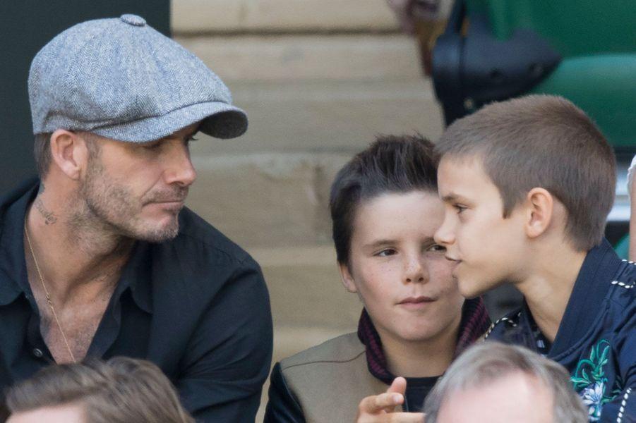 David Beckham et ses fils Roméo et Cruz à Wimbledon