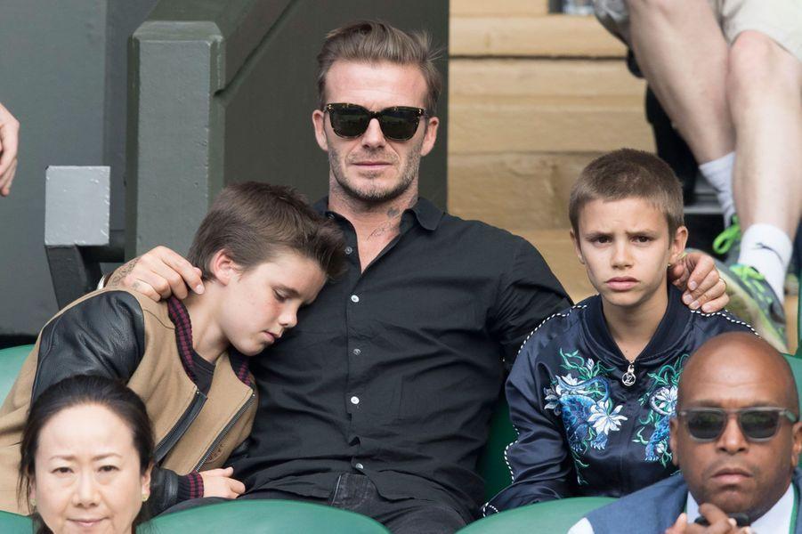 Le clan Beckham dans les tribunes de Wimbledon