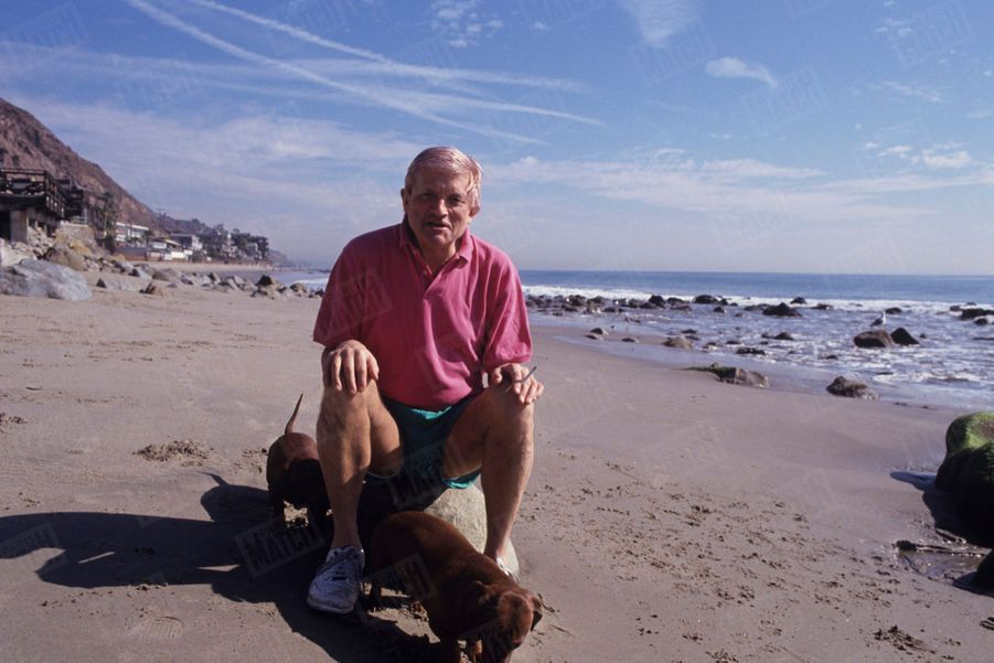 David Hockney sur la plage de Malibu, en Californie en février 1994.