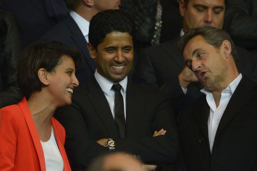 Najat Vallaud-Belkacem, le président du PSG Nasser Al-Khelaïfi et Nicolas Sarkozy