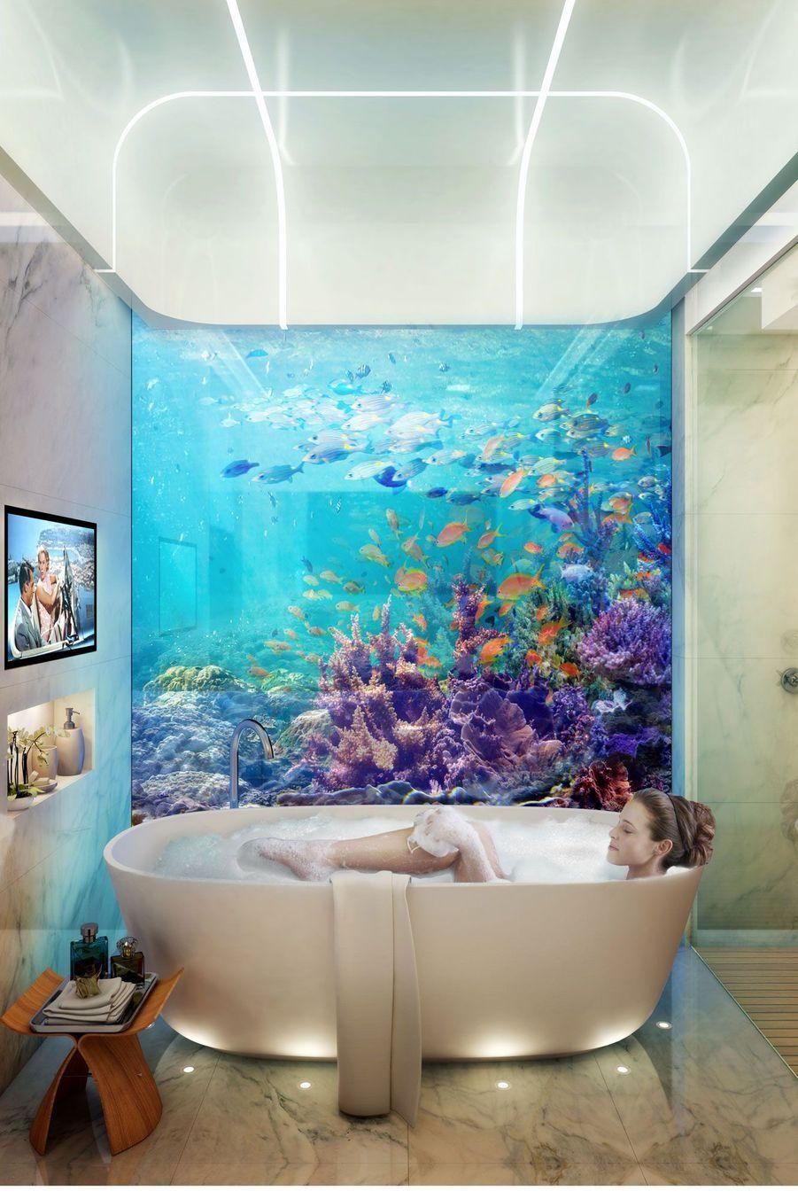 La salle de bain, elle aussi, immergée sous la mer.