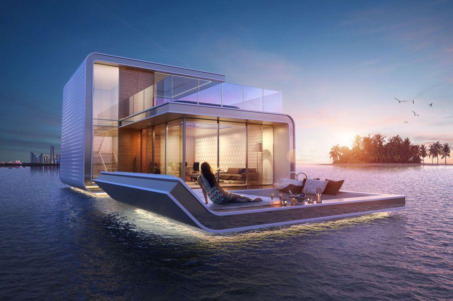 La villa flottante de nuit.