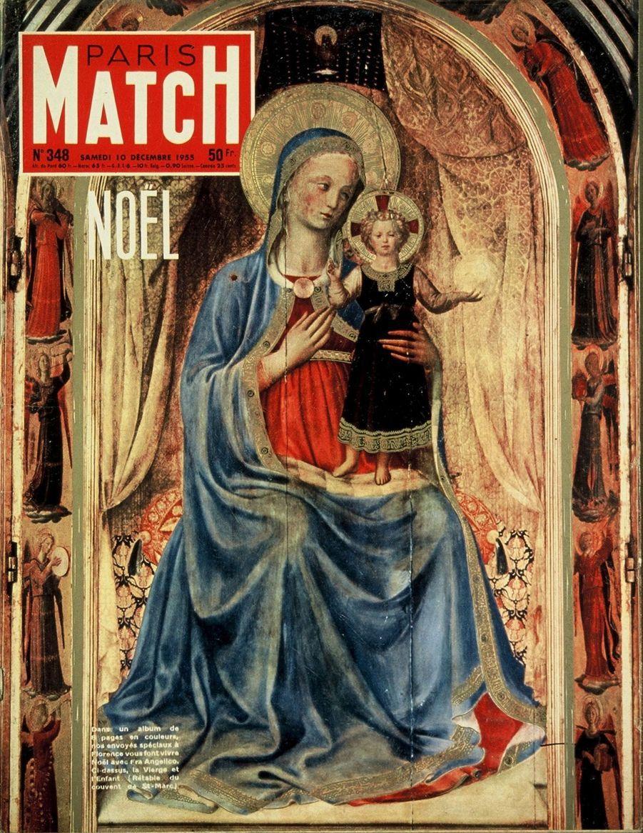 Couverture duParis Matchn°348 du 10 décembre 1955 : peinture de Fra Angelico représentant la Vierge et l'Enfant, retable du couvent de St-Marc à Florence.
