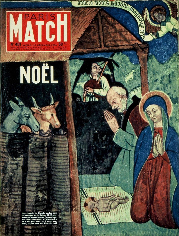 Couverture duParis Matchn°401 du 15 décembre 1956 : détail d'une fresque représentant la naissance de Jésus faisant partie des nombreuses fresques découvertes dans la chapelle Notre-Dame-des-Fontaines perdue dans la montagne de La Brigue dans les Alpes-Maritimes.