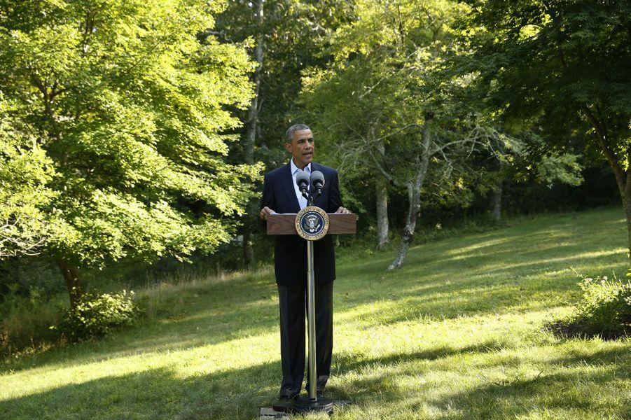 Conférence de presse à Martha's Vineyard pour Barack Obama