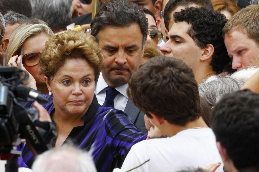 Dilma Rousseff aux obsèques d'Eduardo Campos