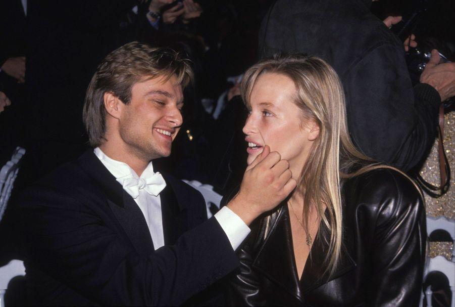 David Hallyday et Estelle Lefébure lors de la soirée 'Best' à Paris en décembre 1989.