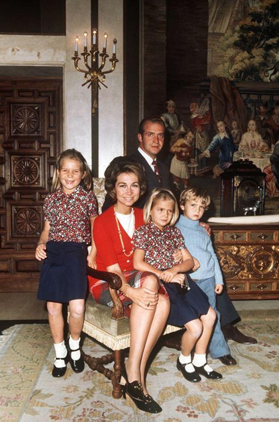 Avec Juan Carlos, Sofia, Elena et Cristina, en 1972