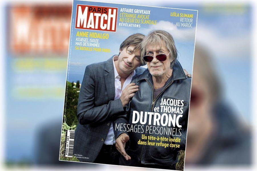 « Jacques et Thomas Dutronc, messages personnels » - couverture du Paris Match n°3695, daté du 27 février 2020.