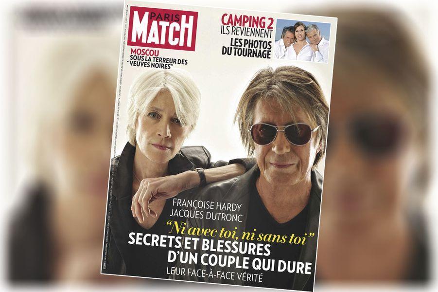 """« Françoise Hardy, Jacques Dutronc : """"ni avec toi, ni sans toi"""" » - couverture du Paris Match n°3177, daté du 8 avril 2010."""