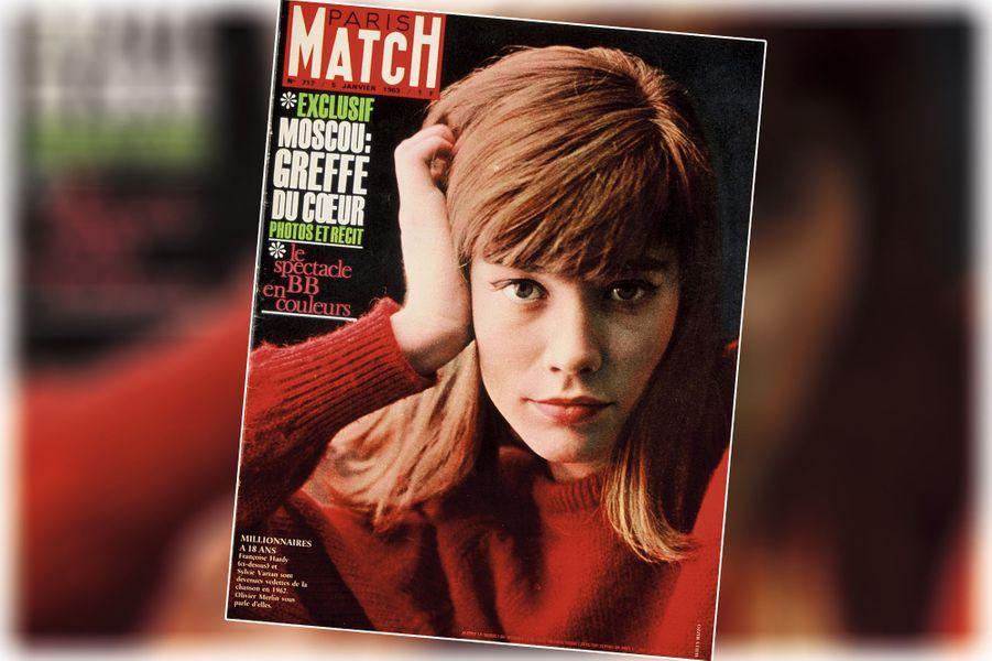 « Françoise Hardy, millionaire à 18 ans » - couverture du Paris Match n°717, daté du 5 janvier 1963.