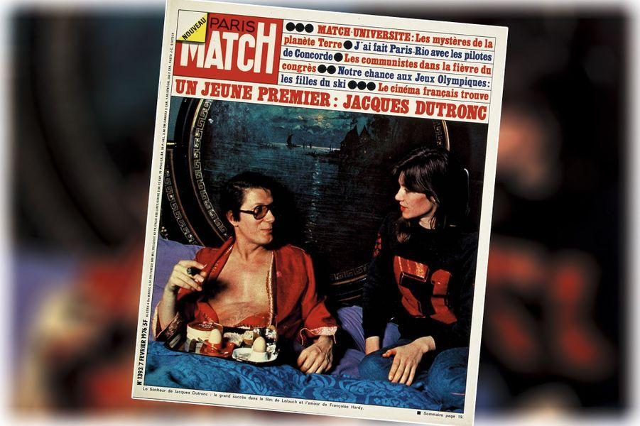 « Le bonheur de Jacques Dutronc : le grand succès dans le film de Lelouch et l'amour deFrançoise Hardy » - couverture du Paris Match n°1393, daté du 7 février 1976.