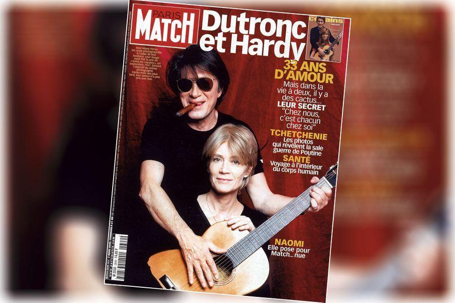 « Dutronc-Hardy : 33 ans d'amour, mais dans la vie, il y a des cactus... » - couverture du Paris Match n°2649, daté du 2 mars 2000.