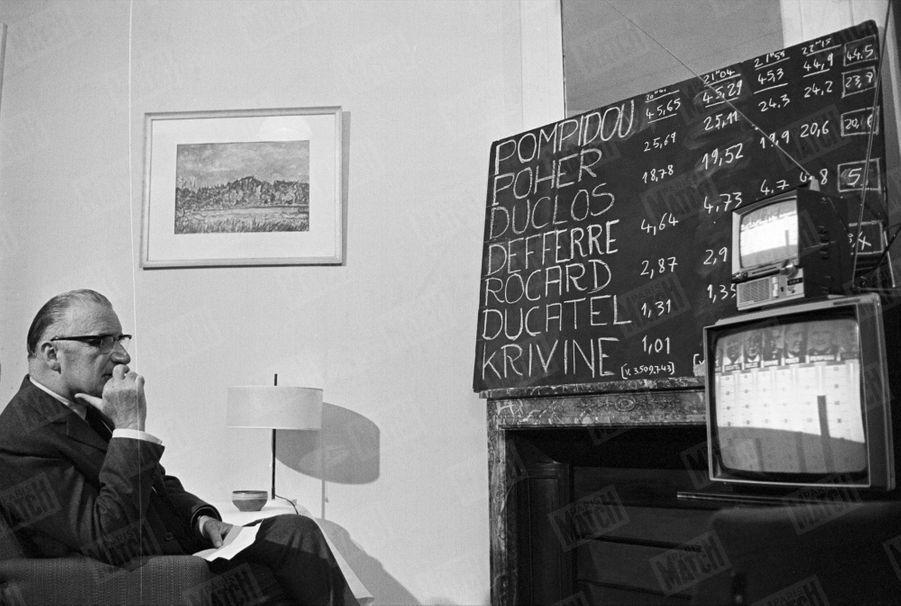 Le candidat Georges Pompidou attend les résultats du premier tour de l'élection présidentielle en juin 1969.