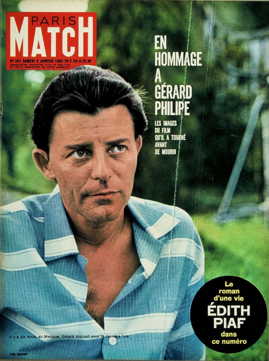 """Hommage à Gérard Philipe en couverture du Paris Match n°561, daté du 9 janvier 1960 : l'acteur lors du tournage au Mexique de """"La Fièvre monte à El Pao"""" de Luis Bunuel, 6 mois avant de mourir."""