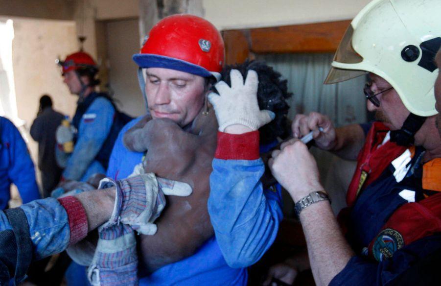 « Elle s'appelle Sainvil Estapola (les Russes écriront par erreur Senvilo Ovri), elle a 11 ans et fait partie des derniers miraculés de Port-au-Prince. Sa maison s'est écroulée sur elle quatre jours plus tôt. La fillette a vécu les limites de ce qu'un être humain, privé de nourriture et d'eau, pouvait endurer sous une température de 40 °C. Suivant le protocole en vigueur, les Russes ont creusé jusqu'à elle un tunnel, la plupart du temps à mains nues, afin qu'aucun outil ne vienne la blesser. «Nous avons travaillé quatre ou cinq heures », explique Iouri Maslov, un membre de l'équipe. Le même jour, ses collègues ont sauvé trois autres personnes. Pour tous les sauveteurs, professionnels ou improvisés, le temps de l'espoir est révolu. Il faut accepter l'irrémédiable : les ruines sont des tombeaux. » - Paris Match n°3166, 21 janvier 2010.