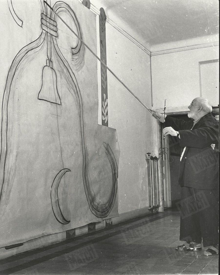 Esquisses d'Henri Matisse pour la chapelle Notre-Dame-du-Rosaire à Vence, en 1950.