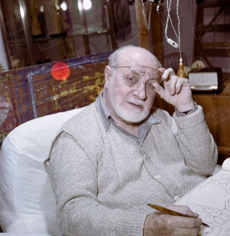 Henri Matisse, chez lui, en 1950.