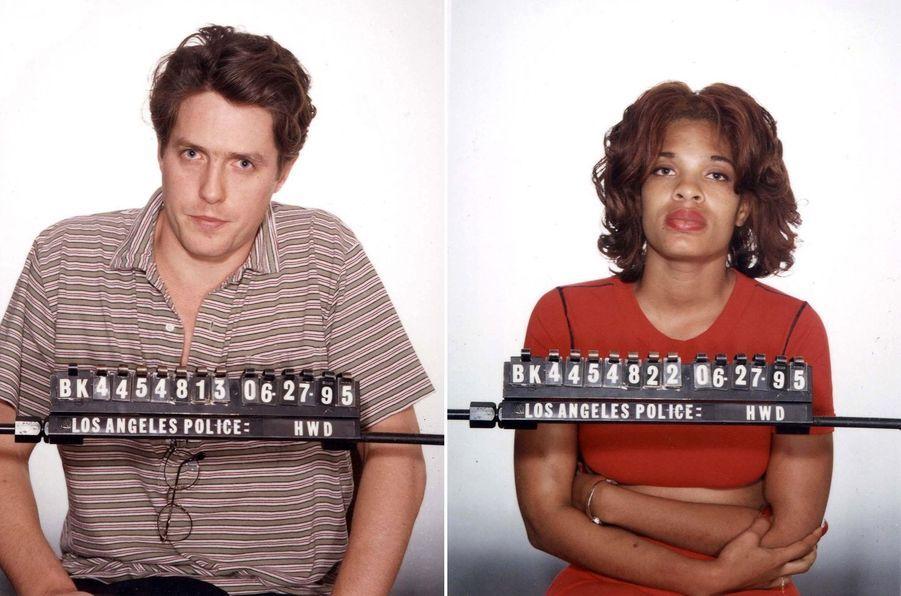 Hugh Grant et Divine Brown, la prostituée avec qui l'acteur a été surpris en pleine prestation tarifée. Photographie d'identité judiciaire de la police de Los Angeles, 27 juin 1995.