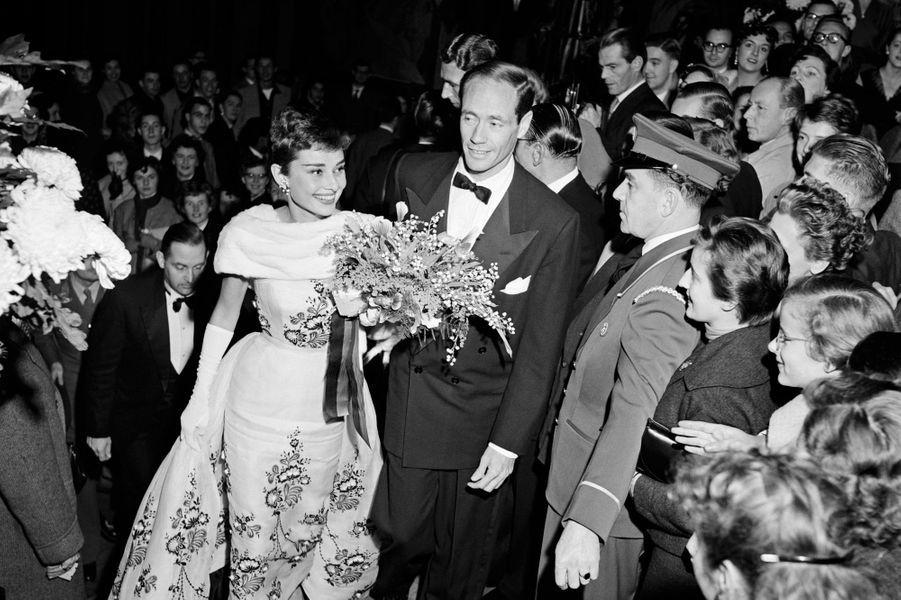 Audrey Hepburn et Mel Ferrer en novembre 1954