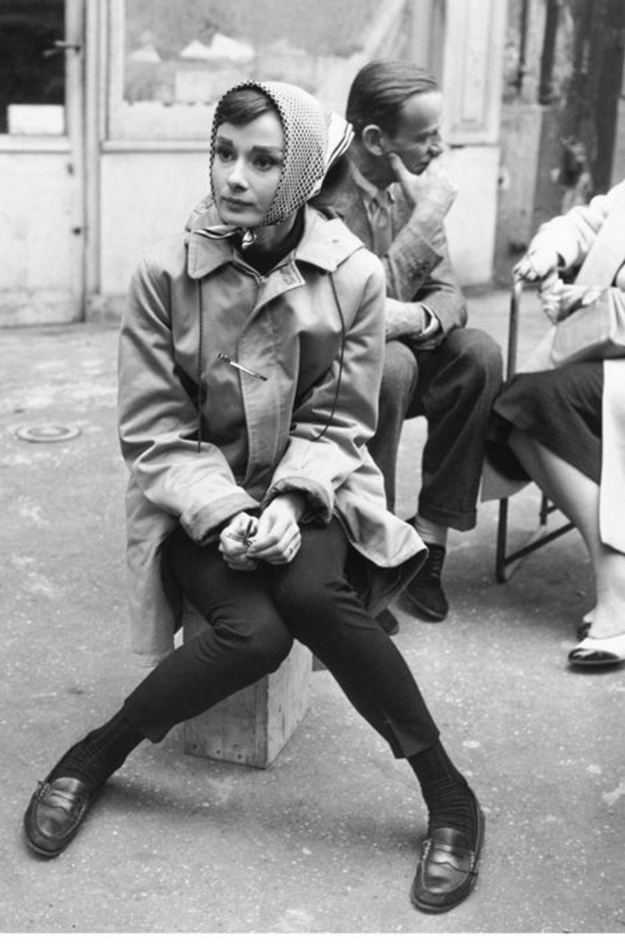 """Sur le tournage de """"Funny face"""" à Paris, 1956"""