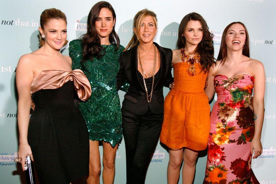 Casting d'enfer ! Elles étaient toutes présentes pour l'avant-première hollywoodienne de «Ce que pensent les hommes» en février 2009. De gauche à droite: Drew Barrymore, Jennifer Connelly, Jennifer Aniston, Ginnifer Goodwin et Scarlett Johansson.