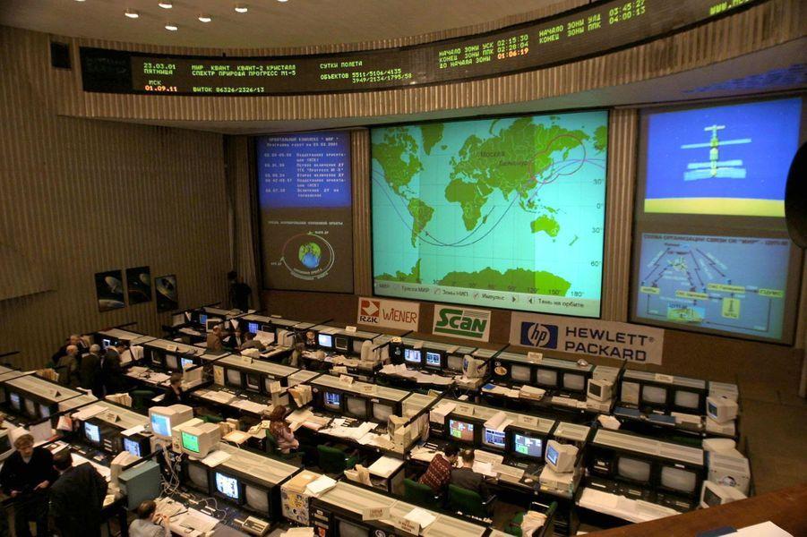 Opération de contrôle pour le désorbitage de la station spatiale Mir, le 23 mars 2001
