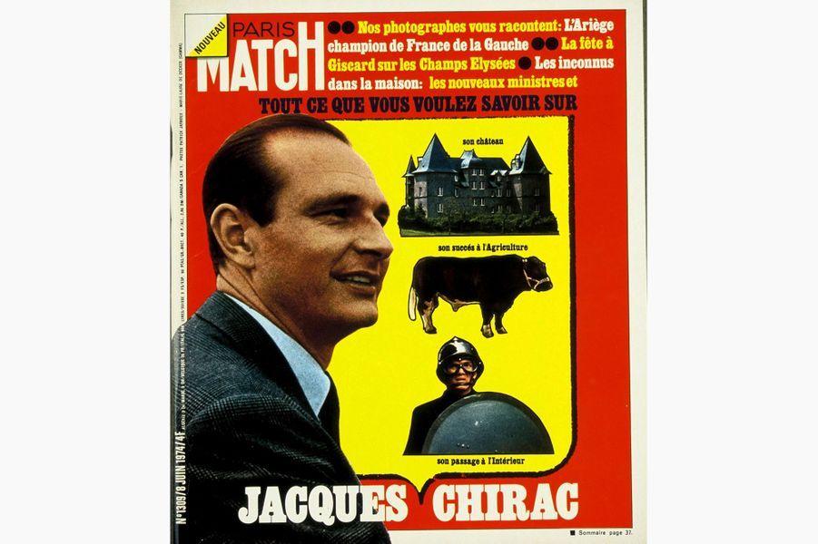 Jacques Chirac en couverture de Paris Match, le 8 juin 1974.