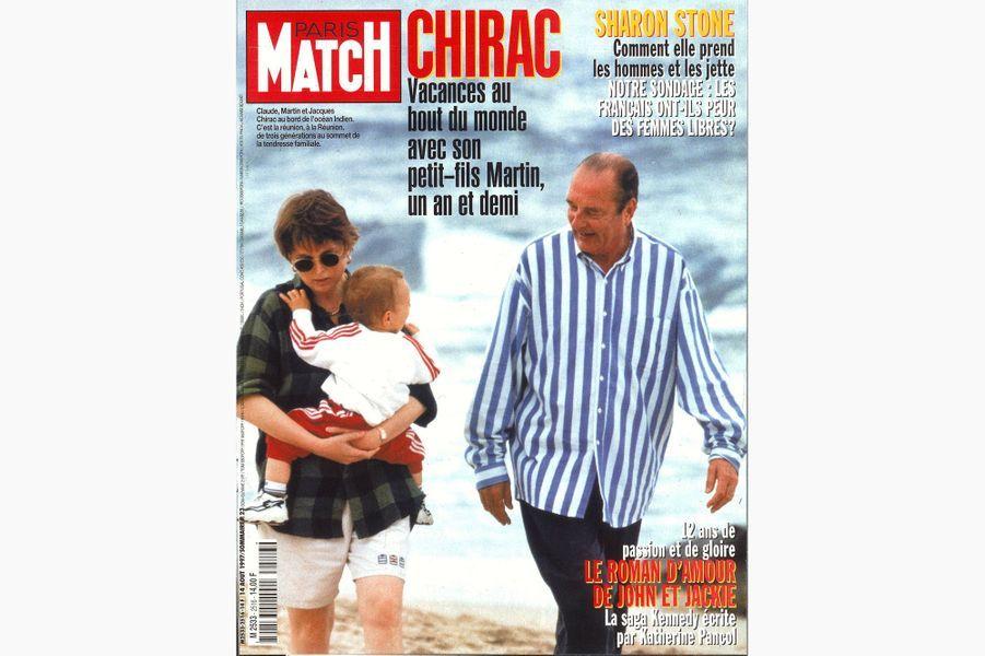 Jacques Chirac en couverture de Paris Match, le 14 août 1997.