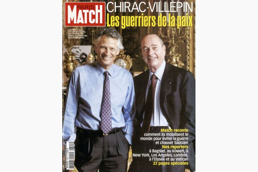 Jacques Chirac en couverture de Paris Match, le 20 février 2003.