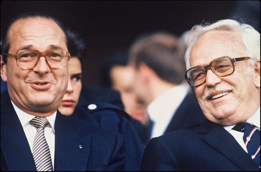 Jacques Chirac et Rainier de Monaco, lors de la finale de Coupe de France de Football en 1985.