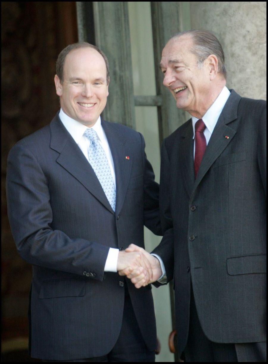 Jacques Chirac avec Albert de Monaco à l'Elysée en novembre 2005.