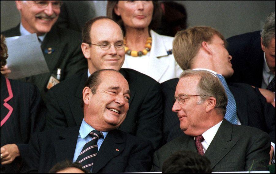 Jacques Chirac avec Albert de Belgique, Albert de Monaco et Willem-Alexander des Pays Bas, à la finale de l'Euro 2000.