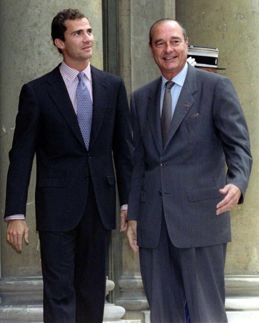 Jacques Chirac avec le prince Felipe à l'Elysée en octobre 1996.