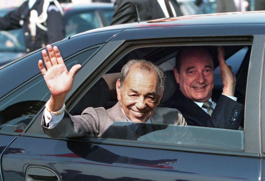 Jacques Chirac et Hassan II du Maroc à Orly, en mai 1996.