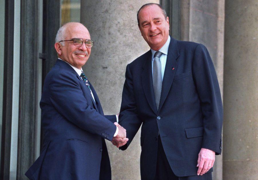 Jacques Chirac avec Hussein de Jordanie à l'Elysée en mai 1996.