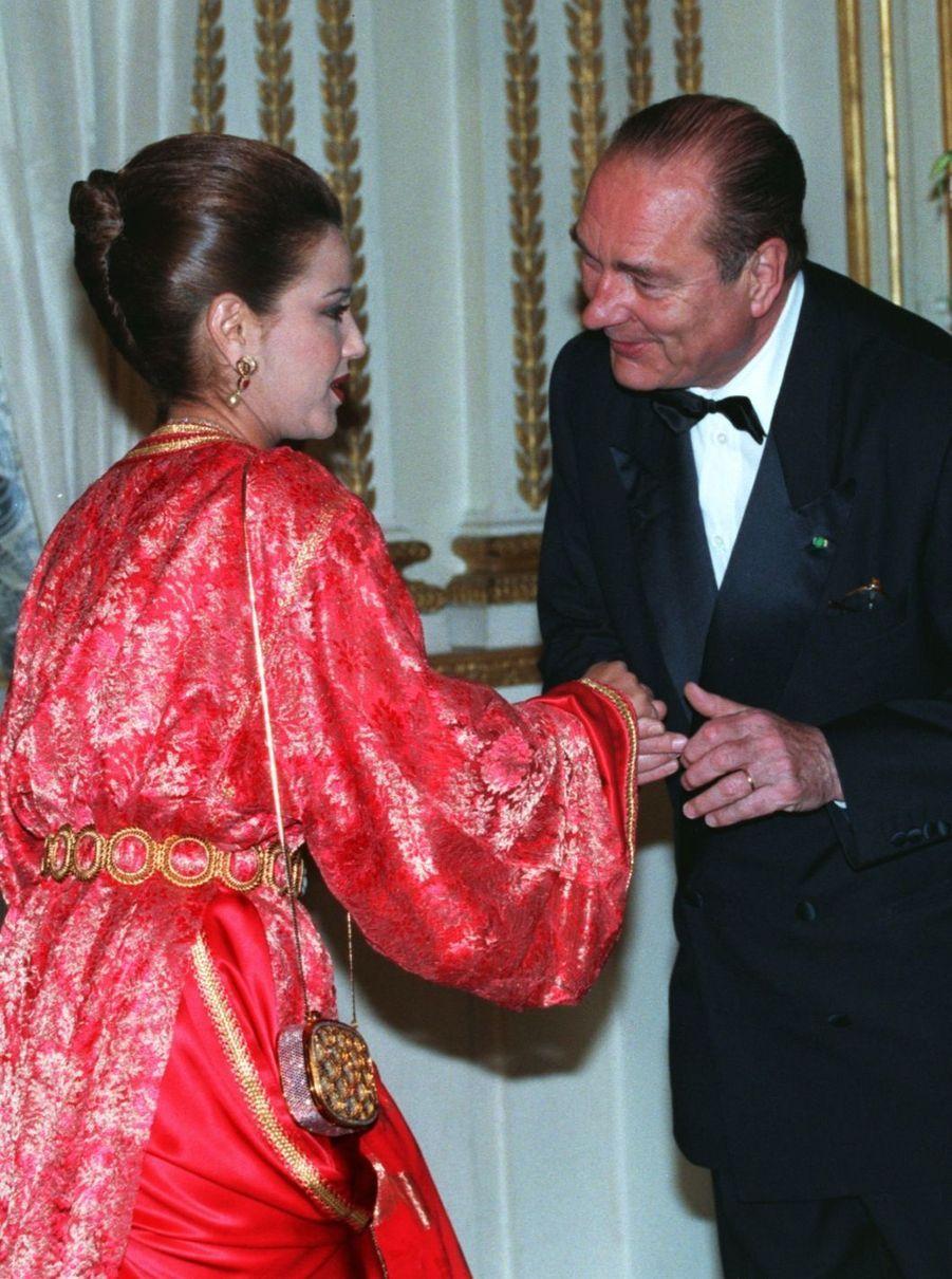Jacques Chirac et Lalla Meryem du Maroc à l'Elysée, en mai 1996.